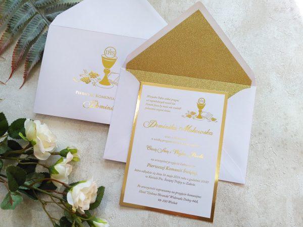 Zaproszenia komunijne złocone z brokatową kopertą