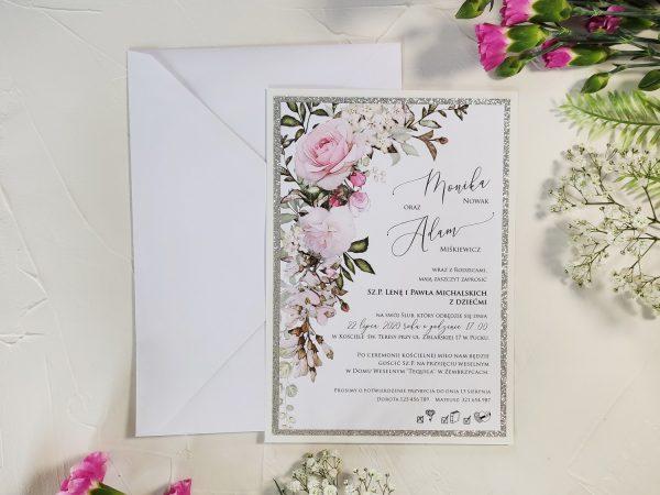 Zaproszenia ślubne duże, kwiatowe brokat