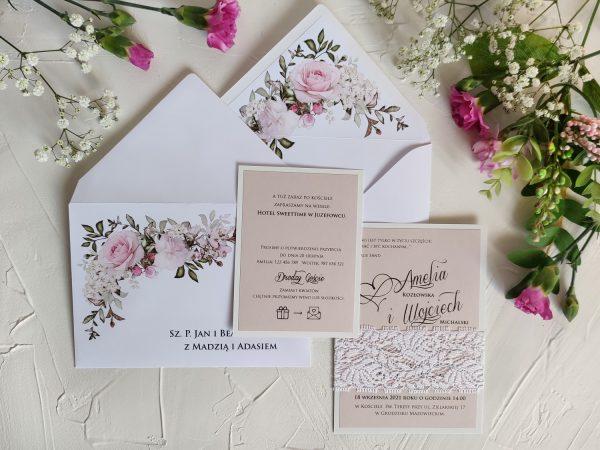 Zaproszenia ślubne – różowe z koronką