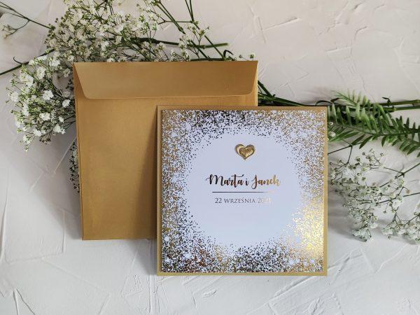 Zaproszenia złoty pył – kwadrat – złocone