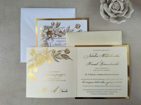 Zaproszenia złocone kwiaty K4 – glitter