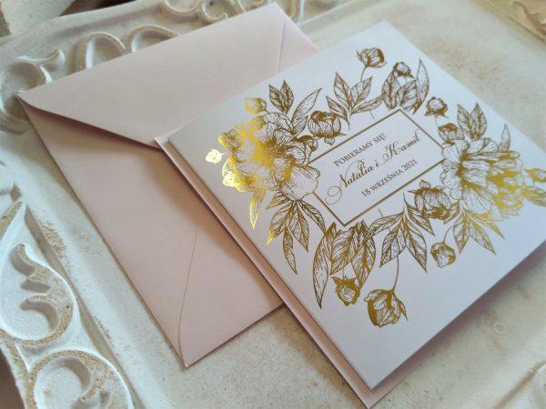 Zaproszenia złocone kwiaty K4 – pudrowy róż