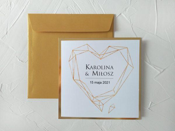 Zaproszenia złote serce – kwadrat