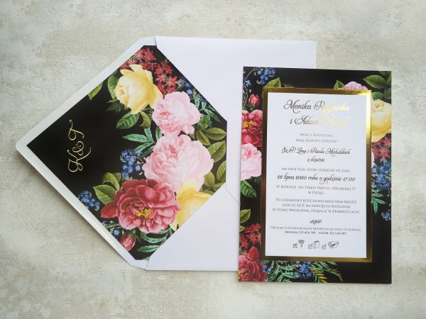 Zaproszenia ślubne – glamour night kwiatowe