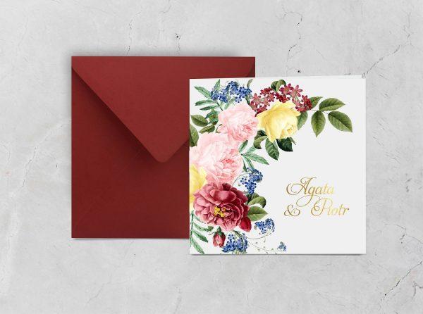 Zaproszenia ślubne klasyczne – bordo i biały
