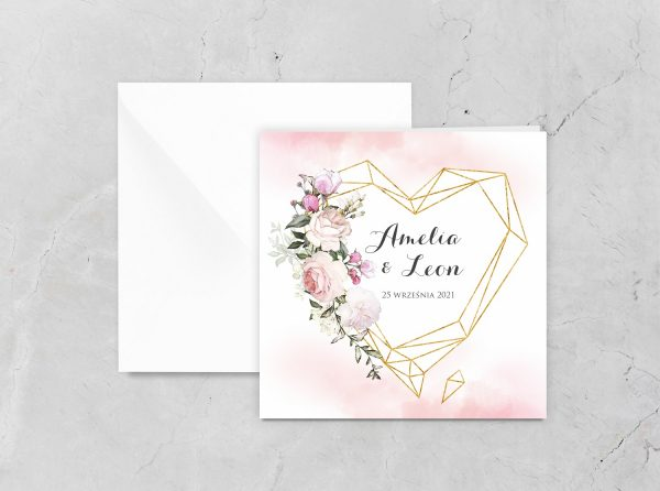 Zaproszenia ślubne klasyczne – geometryczne serce i róż