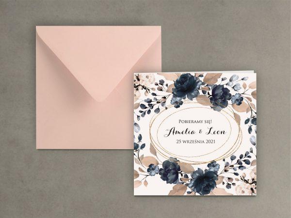 Zaproszenia ślubne klasyczne – róż i granat 2