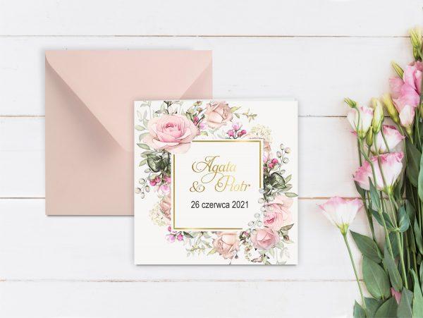 Zaproszenia ślubne klasyczne – romantyczne kwiaty