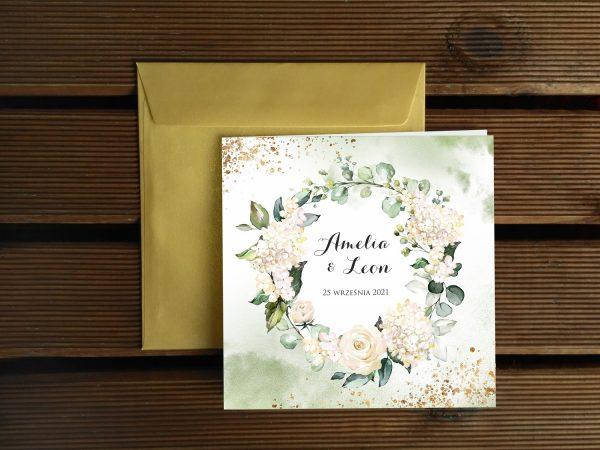 Zaproszenia ślubne klasyczne – białe kwiaty