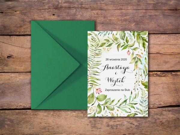 Zaproszenia  – kwiatowe zielone