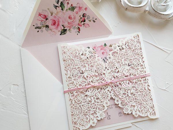 Zaproszenie ślubne ażurowe różane