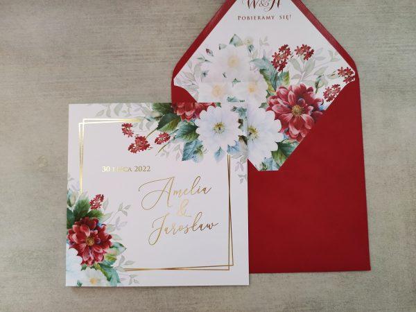 Zaproszenie ślubne bordowe i białe kwiaty
