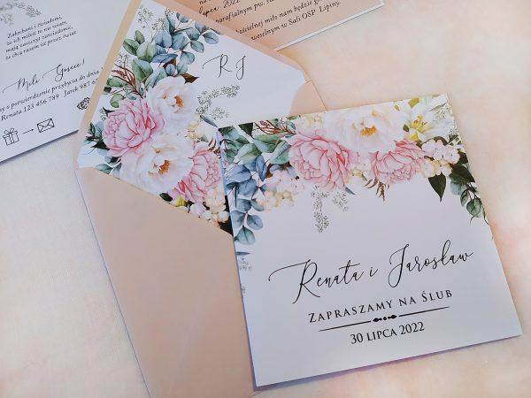 Zaproszenia ślubne czarujące kwiaty