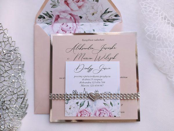 Zaproszenia ślubne z diamentową opaską