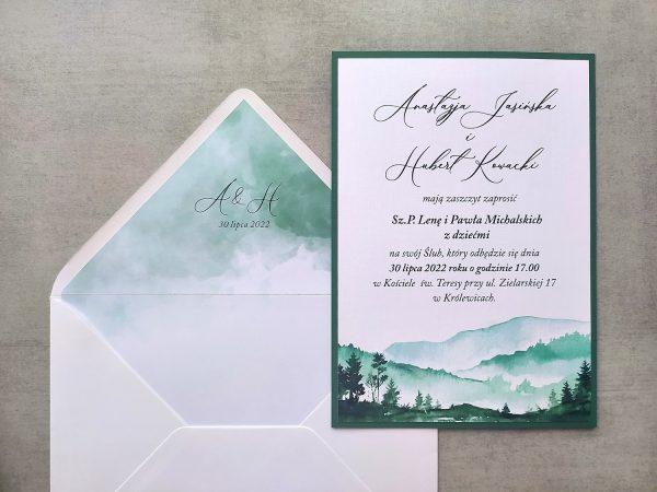 Zaproszenia jednokartkowe z motywem gór i lasu