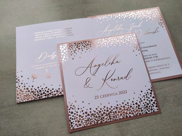 Zaproszenie na ślub Glamour serduszkowe confetti